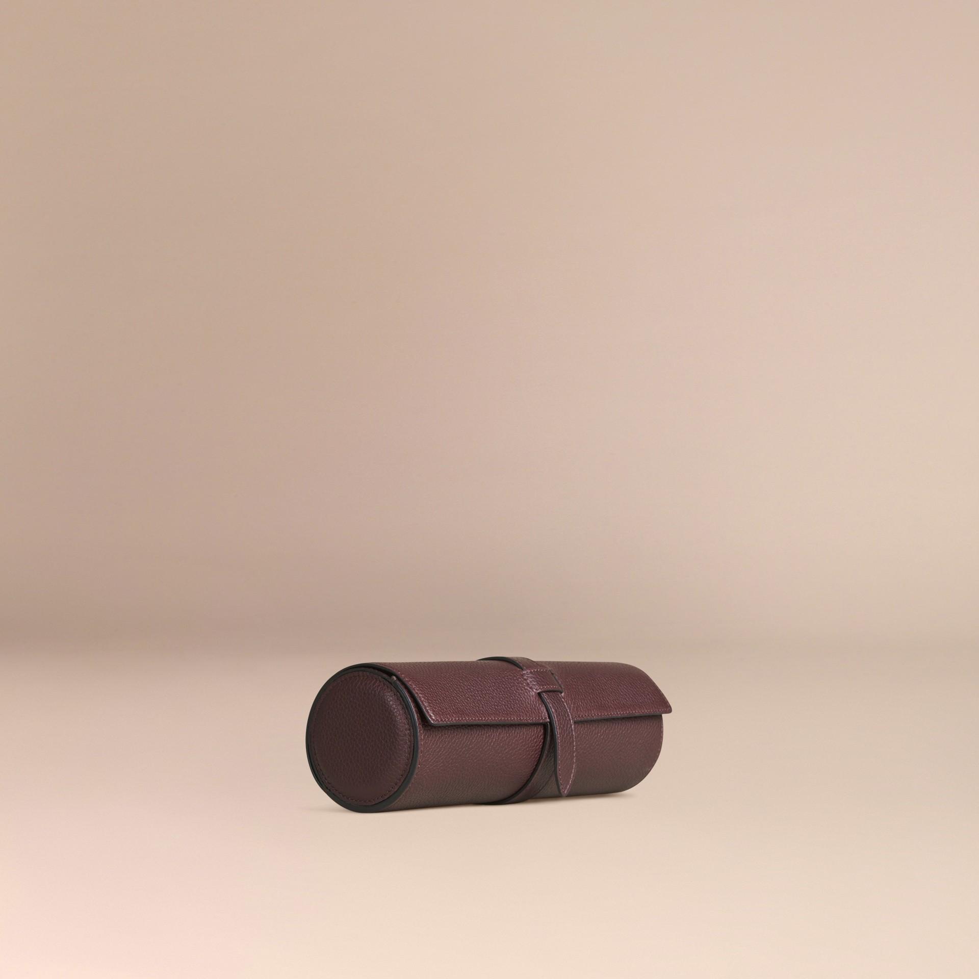 Rosso ebano Custodia per orologi in pelle a grana Rosso Ebano - immagine della galleria 3