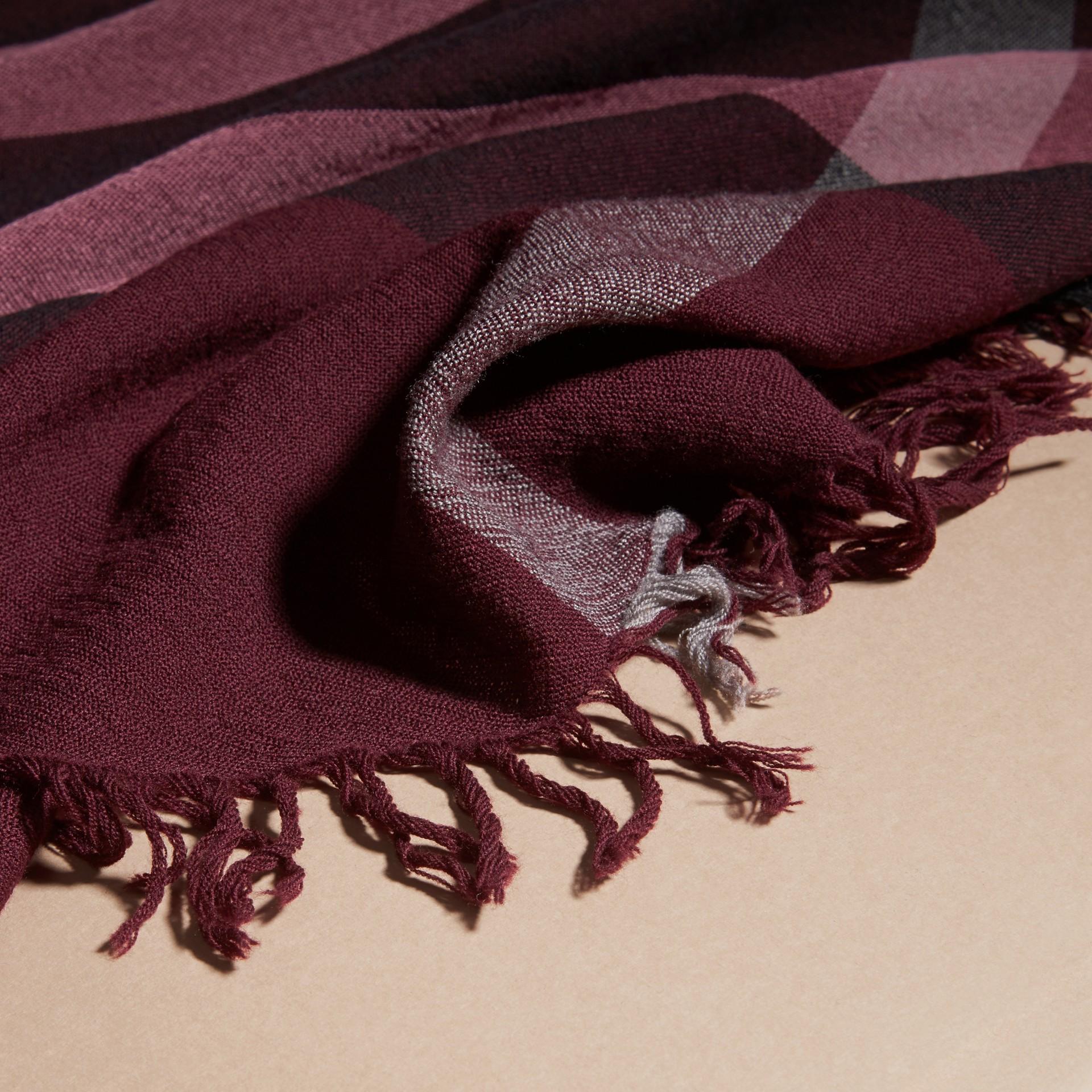 Garnet pink Check Wool Square - Large Garnet Pink - gallery image 2