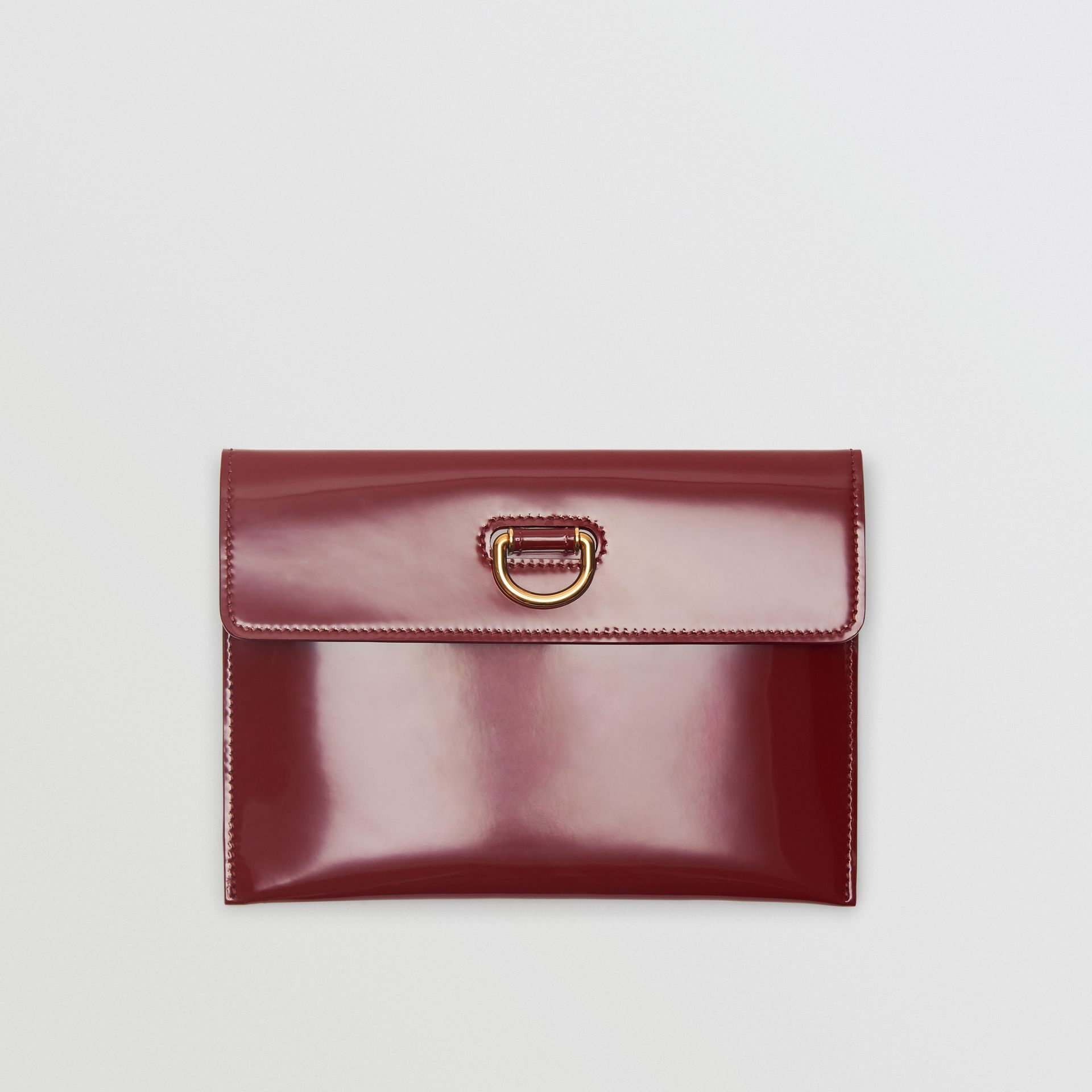 D-ring Patent Leather Pouch with Zip Coin Case in Crimson - Women | Burberry - gallery image 0