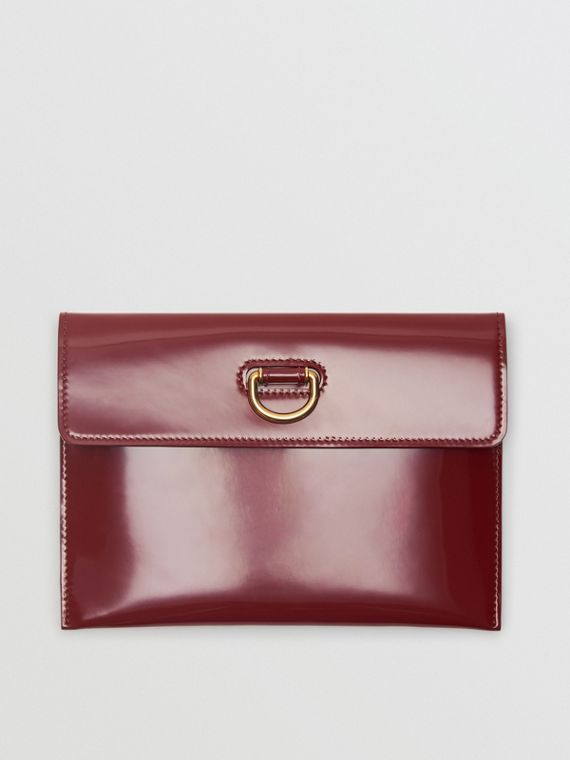 D-ring Patent Leather Pouch with Zip Coin Case in Crimson