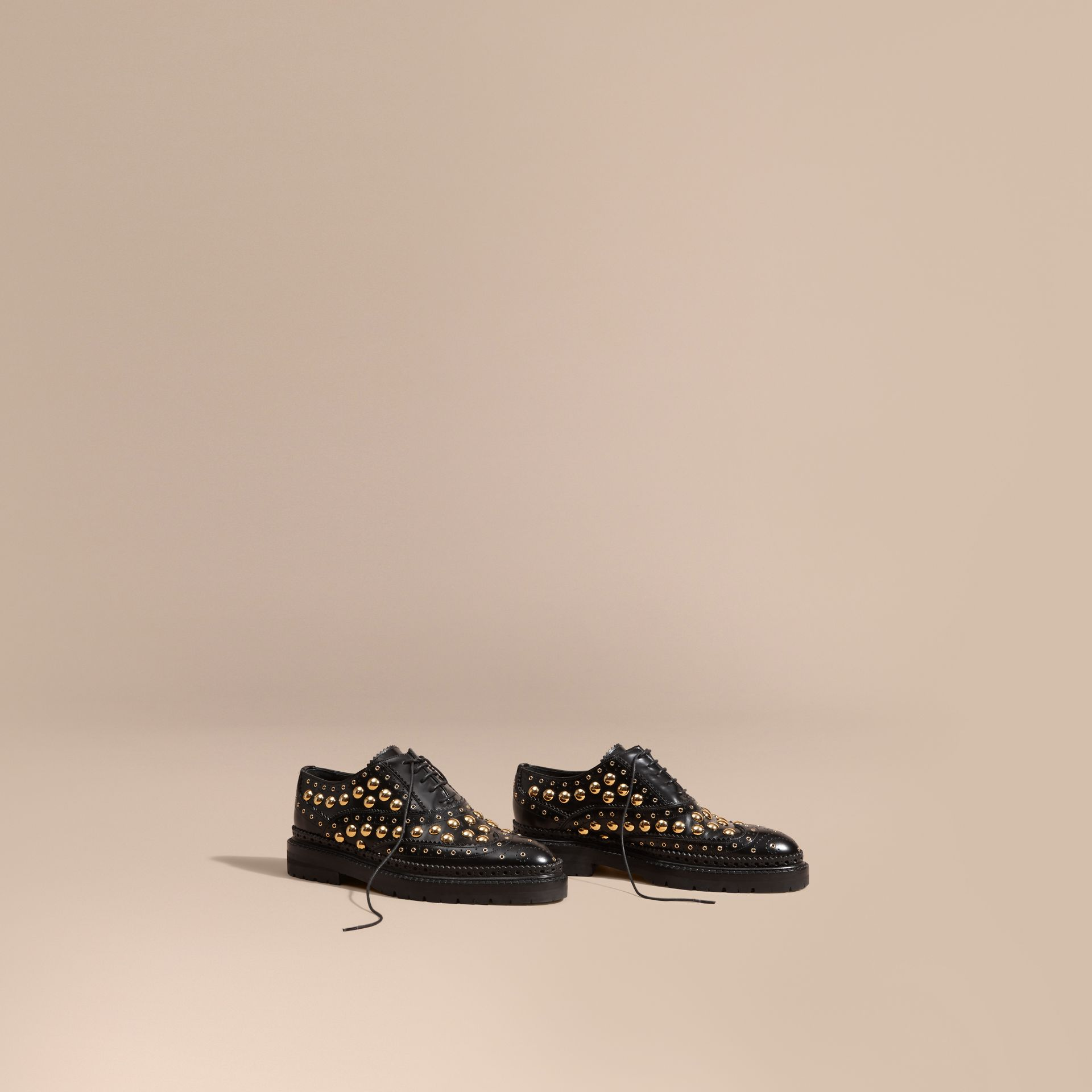 Black Studded Leather Wingtip Brogues - gallery image 1
