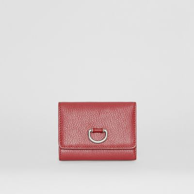 Small D-Ring Leather Wallet in Crimson