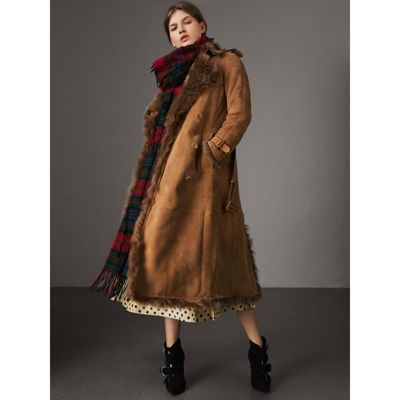 Tolladine Shearling-Trim Suede Trench Coat in Brown