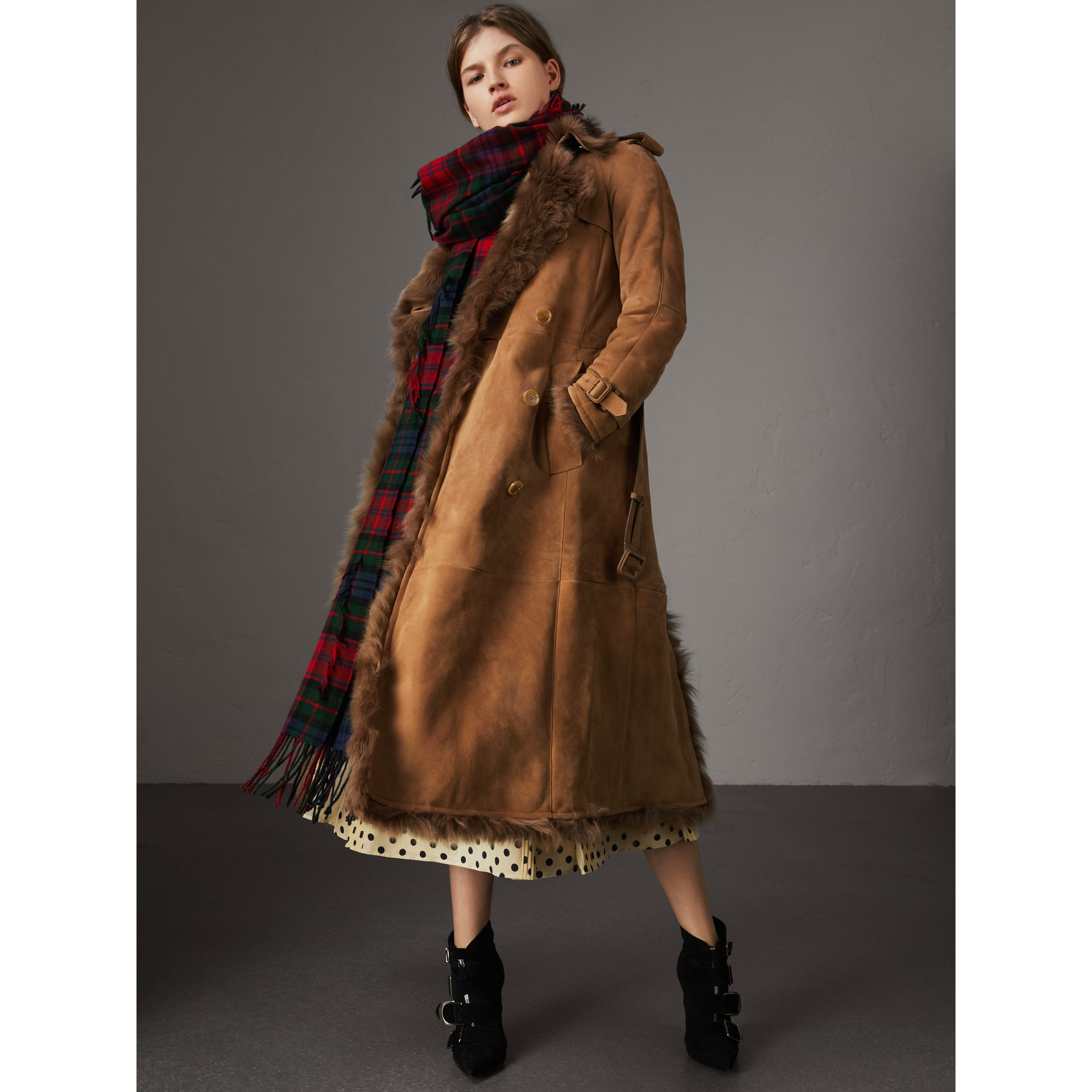 Shearling Trench Coat in Dark Camel - Women | Burberry Hong Kong - gallery image 0