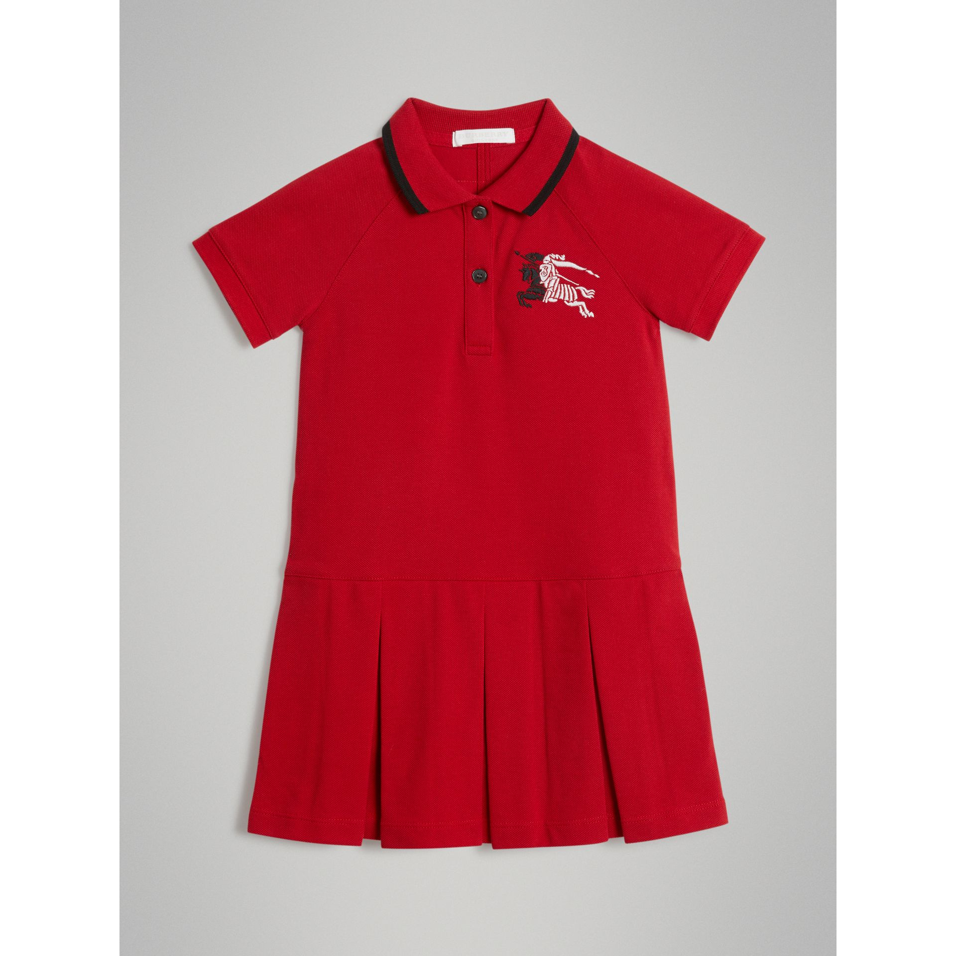 Robe polo avec bande (Rouge Vif) | Burberry - photo de la galerie 0
