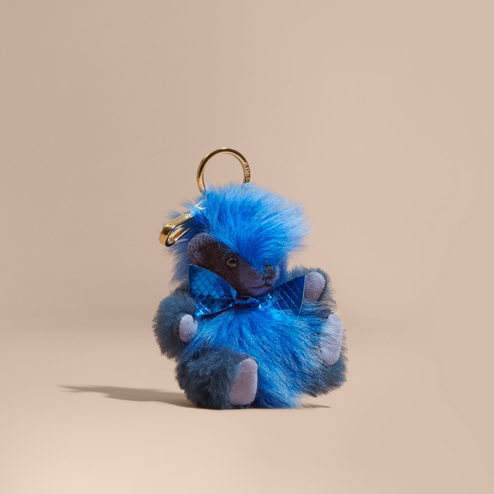 Thomas Bear Pom-Pom Charm in Check Cashmere in Bright Cornflower Blue - Women | Burberry United States - gallery image 0