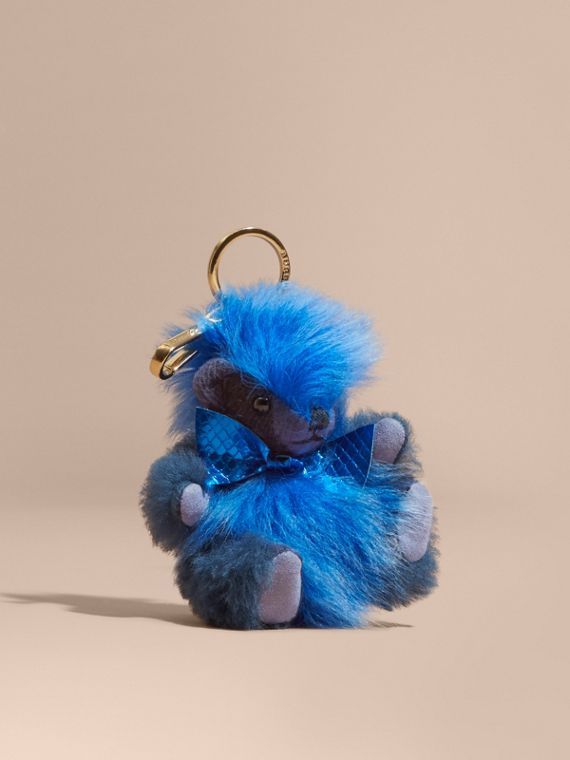 Thomas Bear Pom-Pom Charm in Check Cashmere in Bright Cornflower Blue