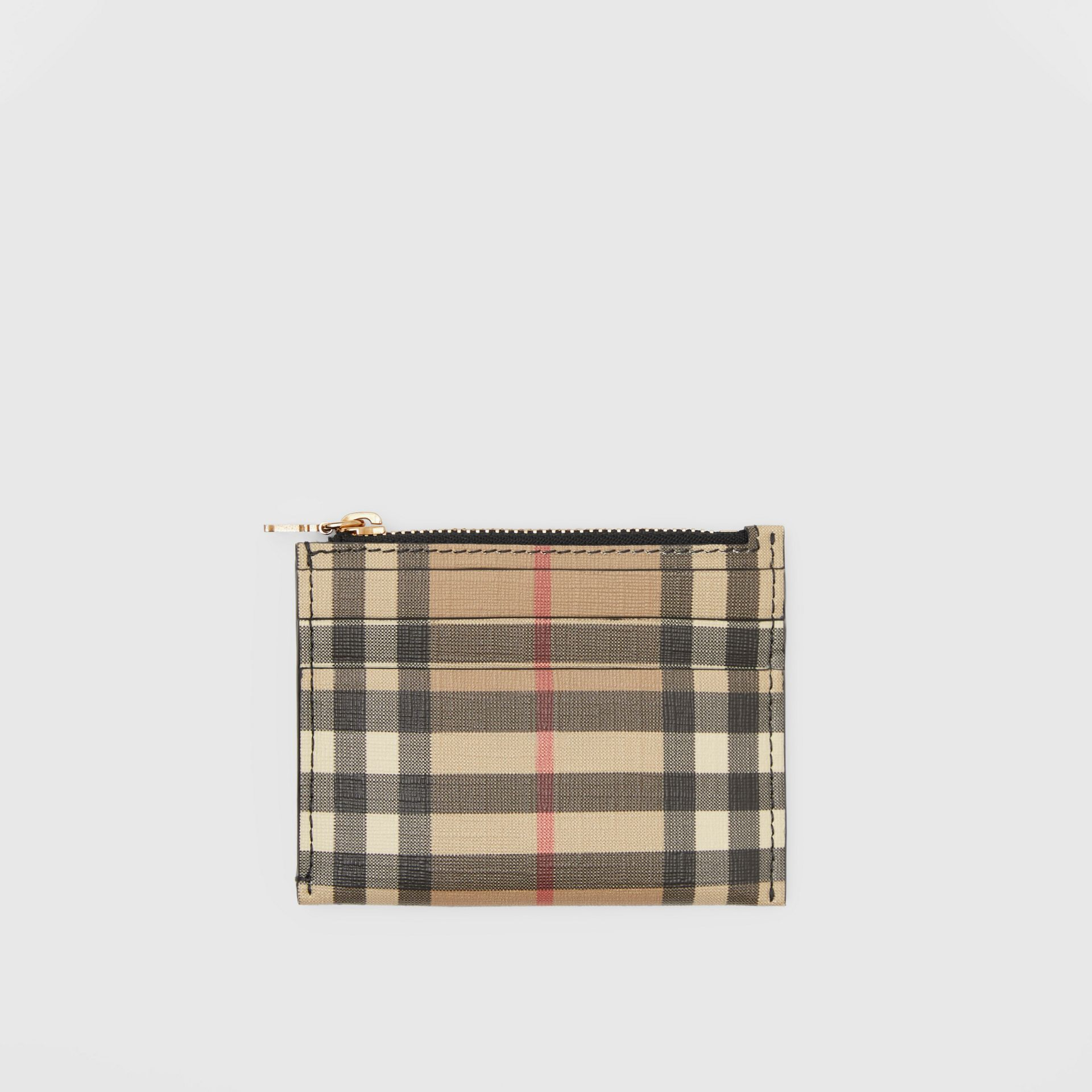 Vintage Check and Leather Zip Card Case in Black - Women | Burberry - gallery image 0