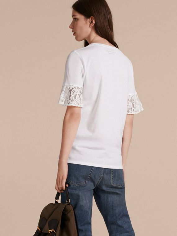 Lace Trim Cotton T-shirt in White - cell image 2