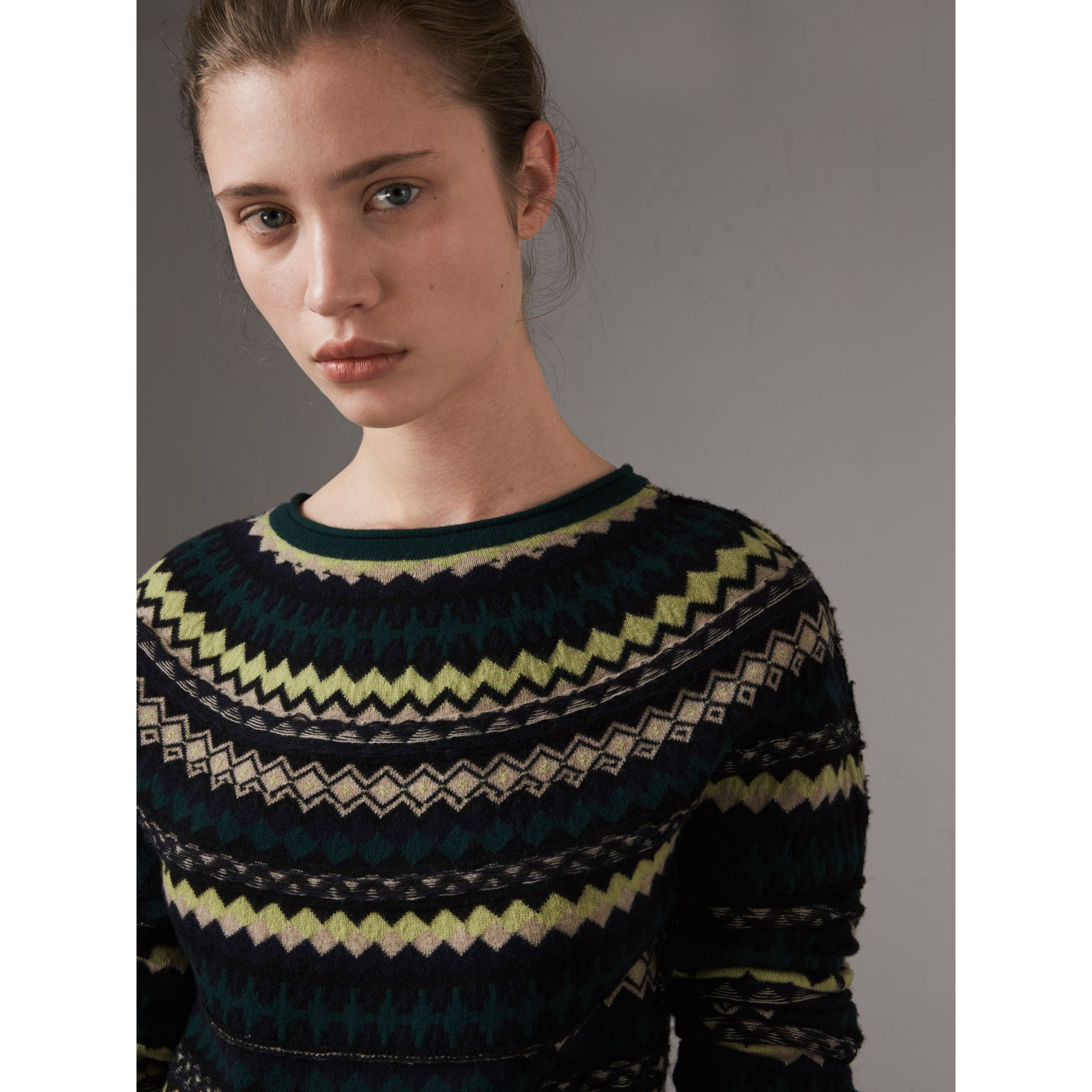 Fair Isle Wool Sweater in Olive Green - Women | Burberry - gallery image 1
