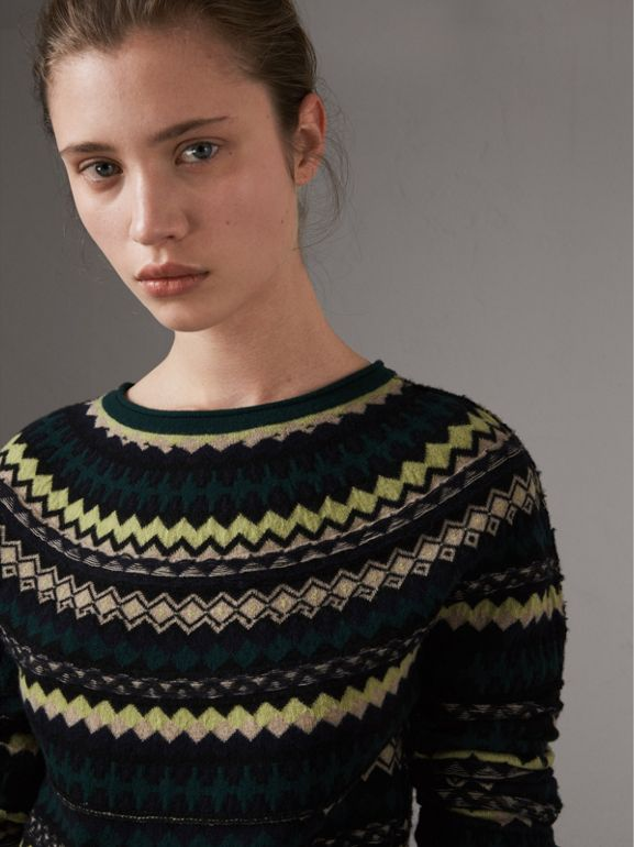 Fair Isle Wool Sweater in Olive Green - Women | Burberry - cell image 1