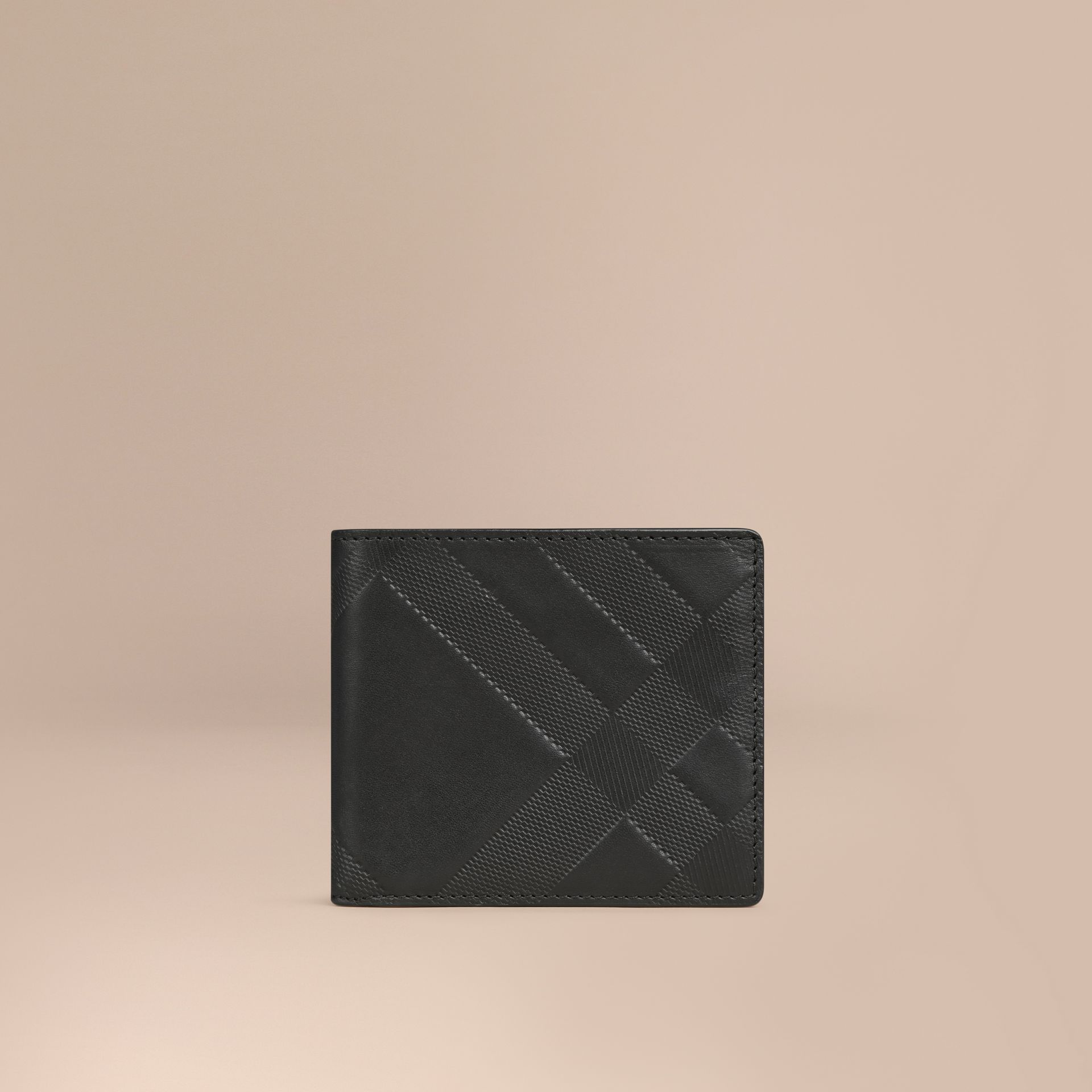 Black Check-embossed Leather Folding Wallet Black - gallery image 1