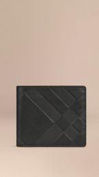 Check-embossed Leather Folding Wallet