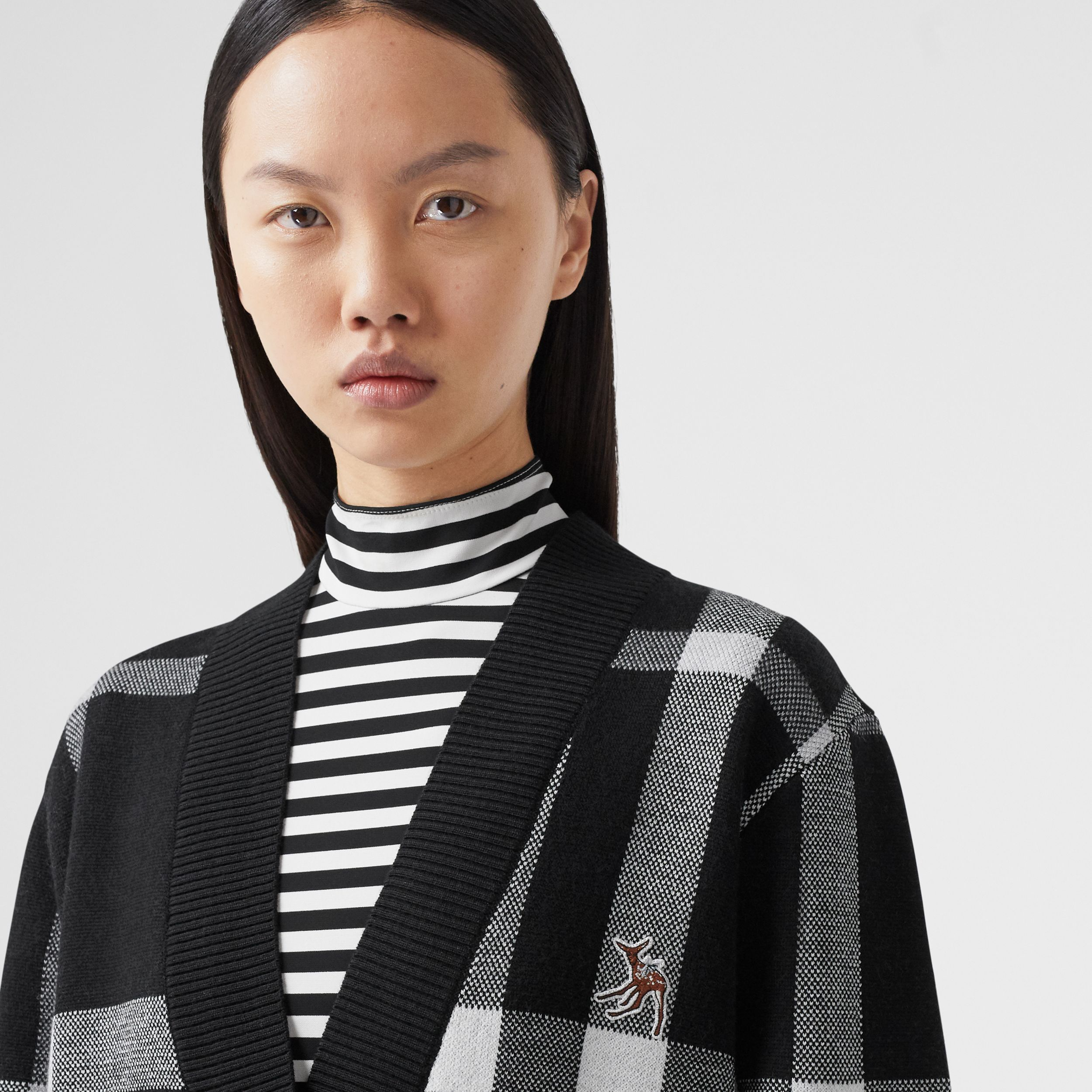 Deer Motif Check Wool Blend Jacquard Cardigan in Black - Women | Burberry - 3