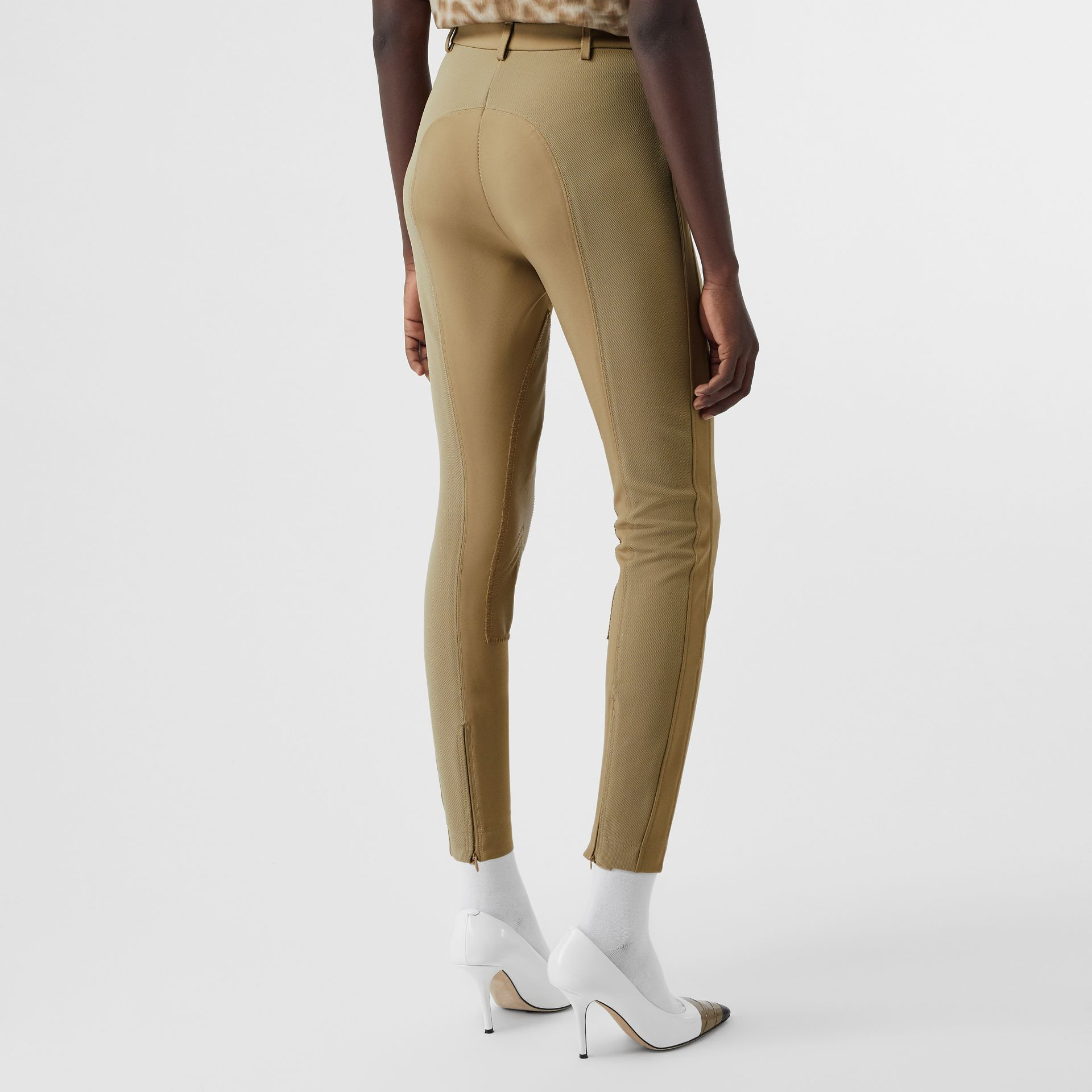 Lambskin Panel Stretch Crepe Jersey Trousers in Honey - Women | Burberry United Kingdom - gallery image 2