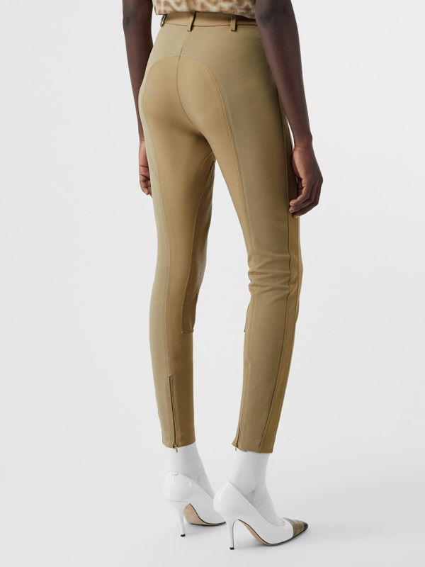 Lambskin Panel Stretch Crepe Jersey Trousers in Honey - Women | Burberry - cell image 2