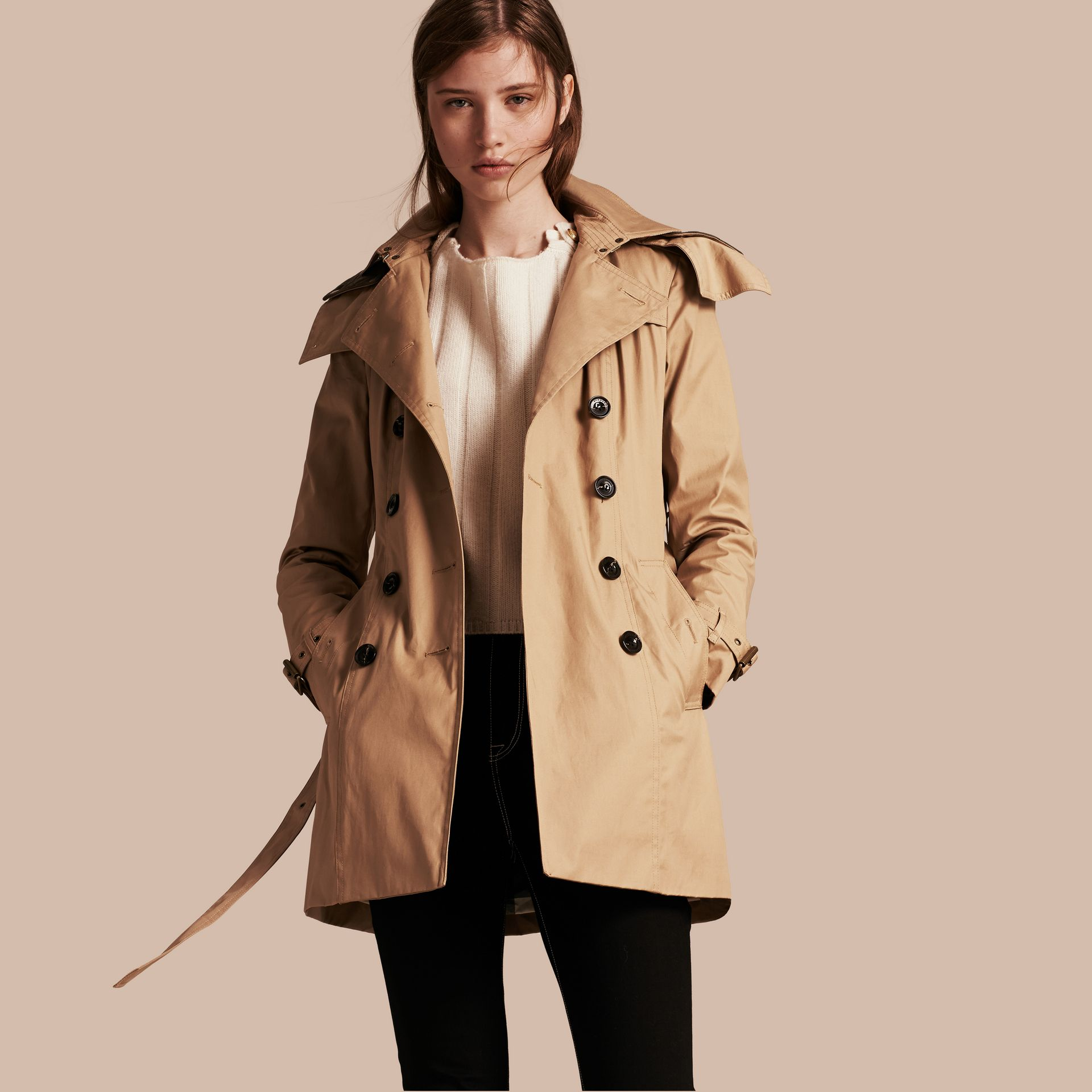 Light camel Hooded Cotton Trench Coat with Warmer Light Camel - gallery image 1