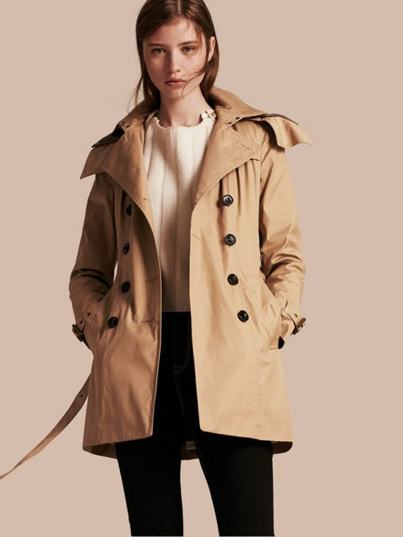 Trench coat com capuz e warmer Light Camel