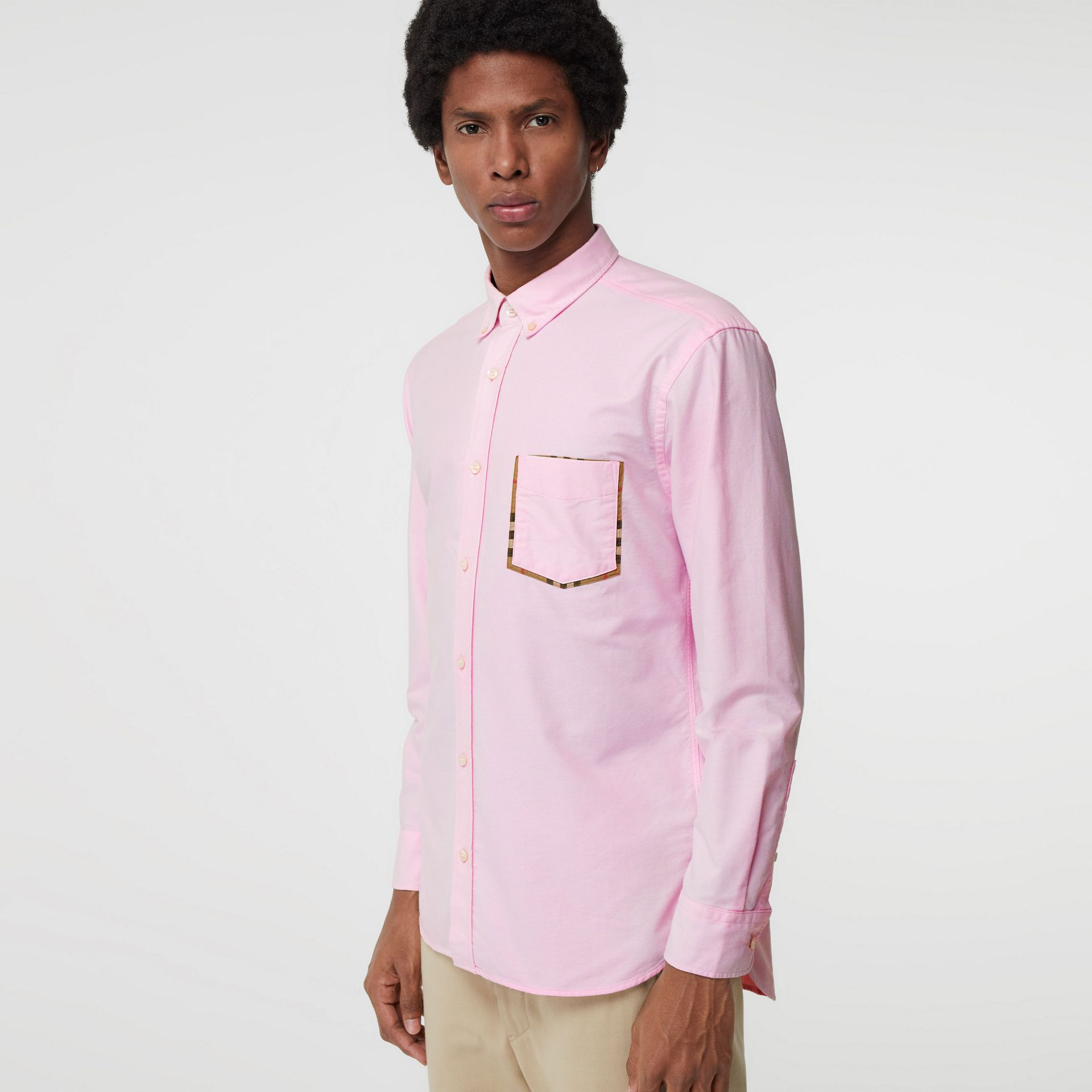 Check Detail Cotton Oxford Shirt in Pale Pink - Men | Burberry - gallery image 4