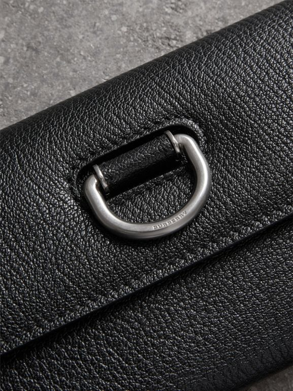 D-ring Grainy Leather Continental Wallet in Black - Women | Burberry United Kingdom - cell image 1