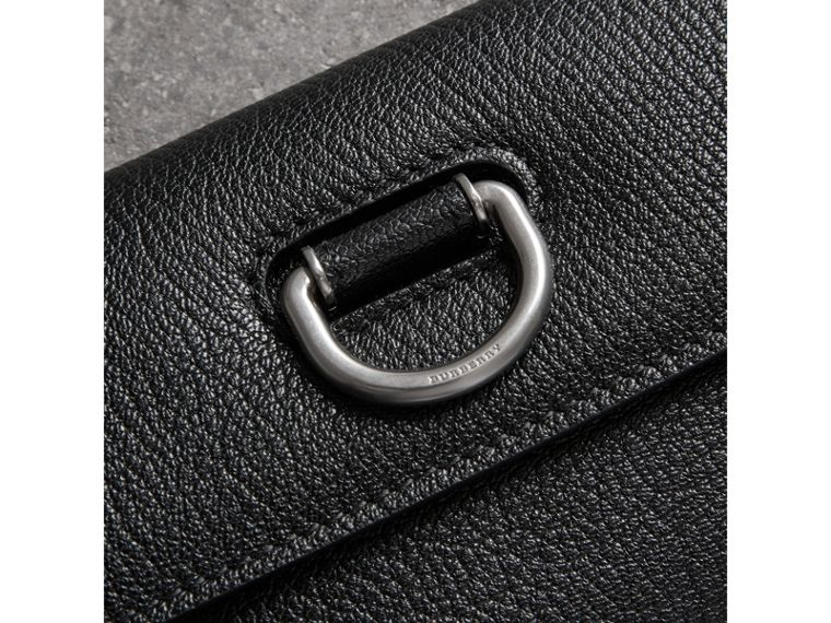 D-ring Grainy Leather Continental Wallet in Black/green - Women | Burberry - cell image 1