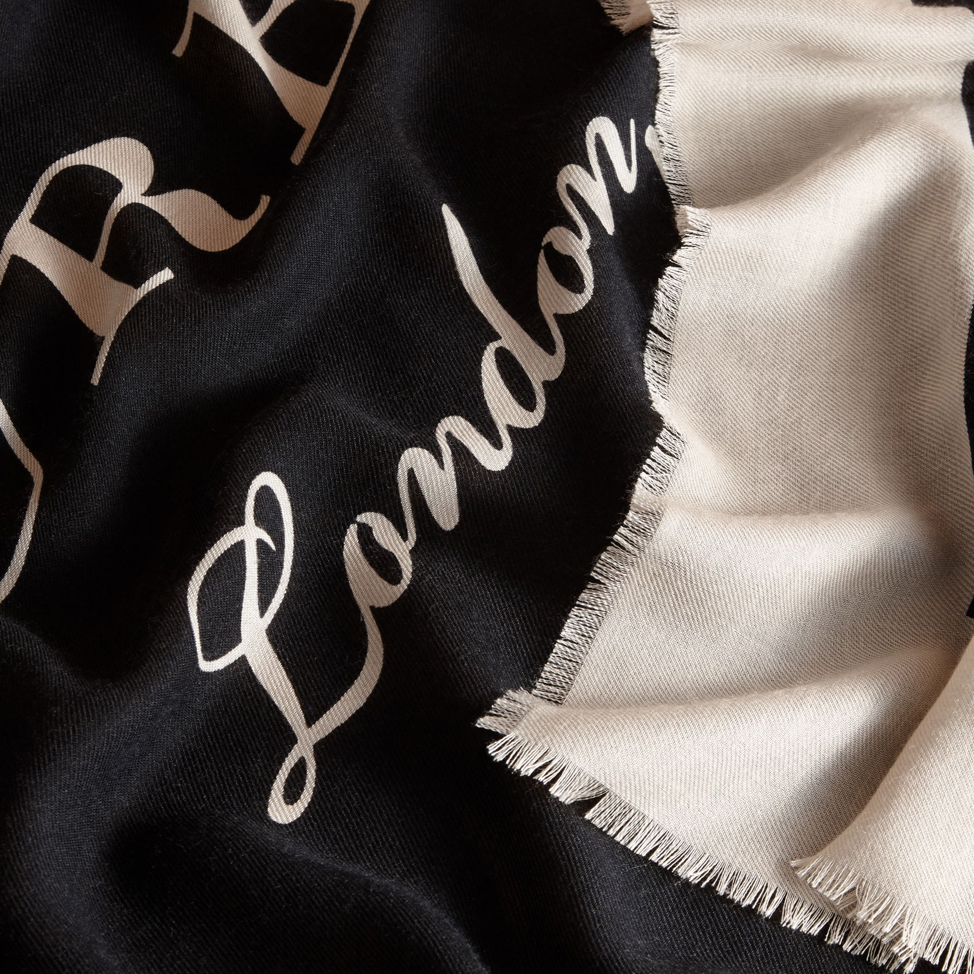 Burberry Print Cashmere Blend Scarf Black/stone - gallery image 2