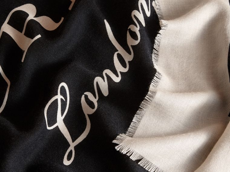 Burberry Print Cashmere Blend Scarf Black/stone - cell image 1