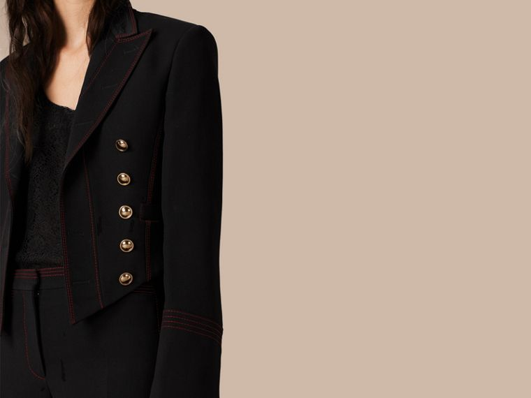 Black Military Wool Silk Twill Jacket - cell image 4