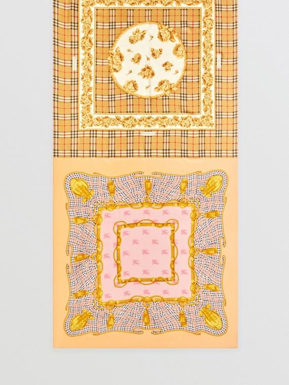 Seidenschal mit Vintage-Aufdrucken (Antikgelb)