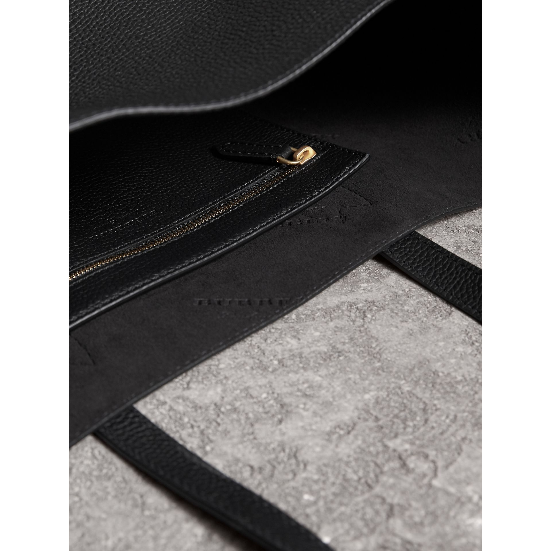 Medium Embossed Leather Tote Bag in Black | Burberry - gallery image 5