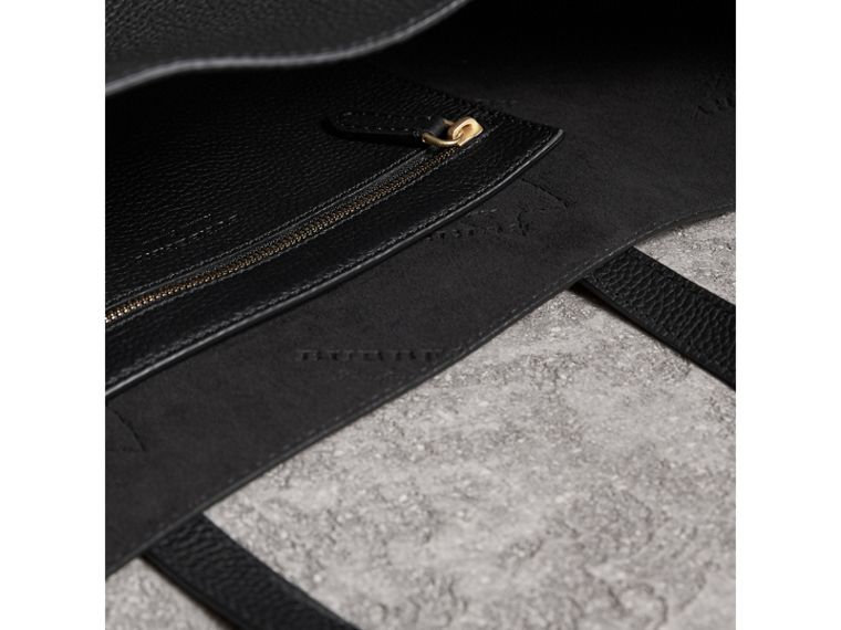 Medium Embossed Leather Tote Bag in Black | Burberry - cell image 4