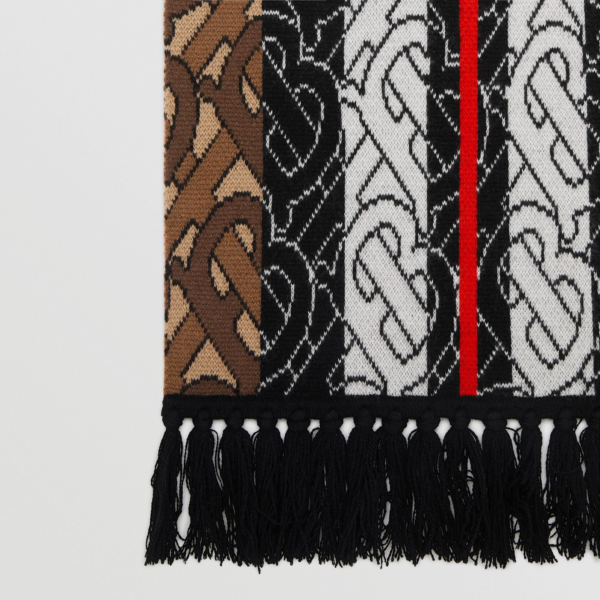 Monogram Stripe Cashmere Scarf in Brown | Burberry Australia - gallery image 11