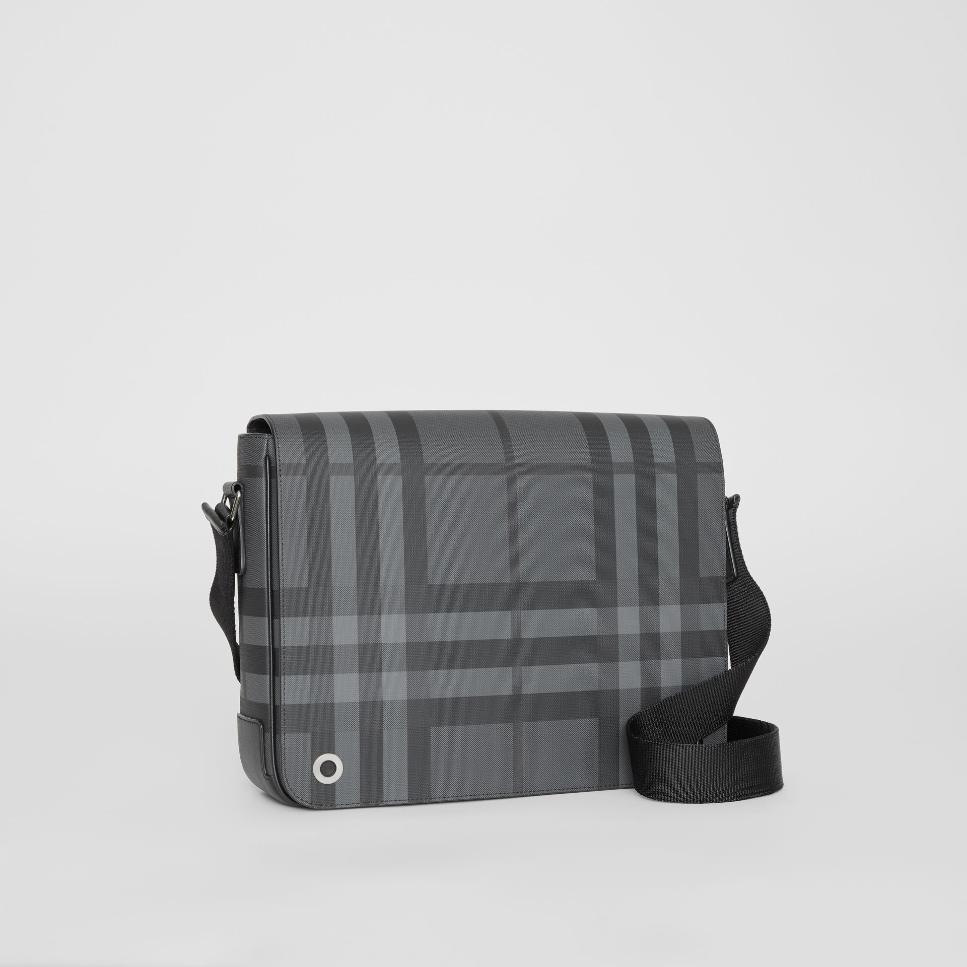 Small London Check Satchel in Charcoal/black - Men | Burberry - gallery image 6