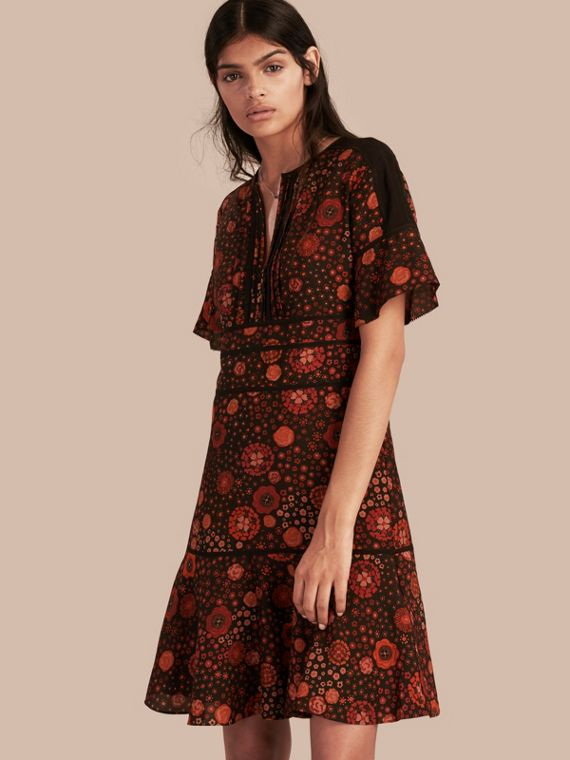 Fit-and-flare Floral Print Silk Dress