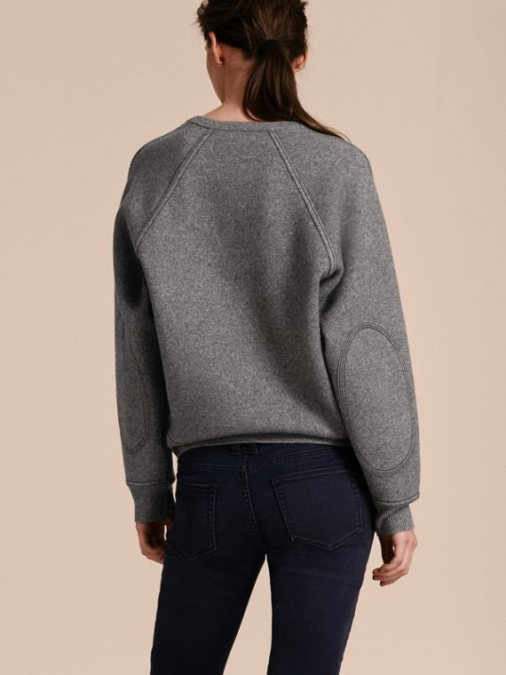 Topstitch Detail Wool Cashmere Blend Sweater in Mid Grey Melange - Women | Burberry Canada - cell image 2