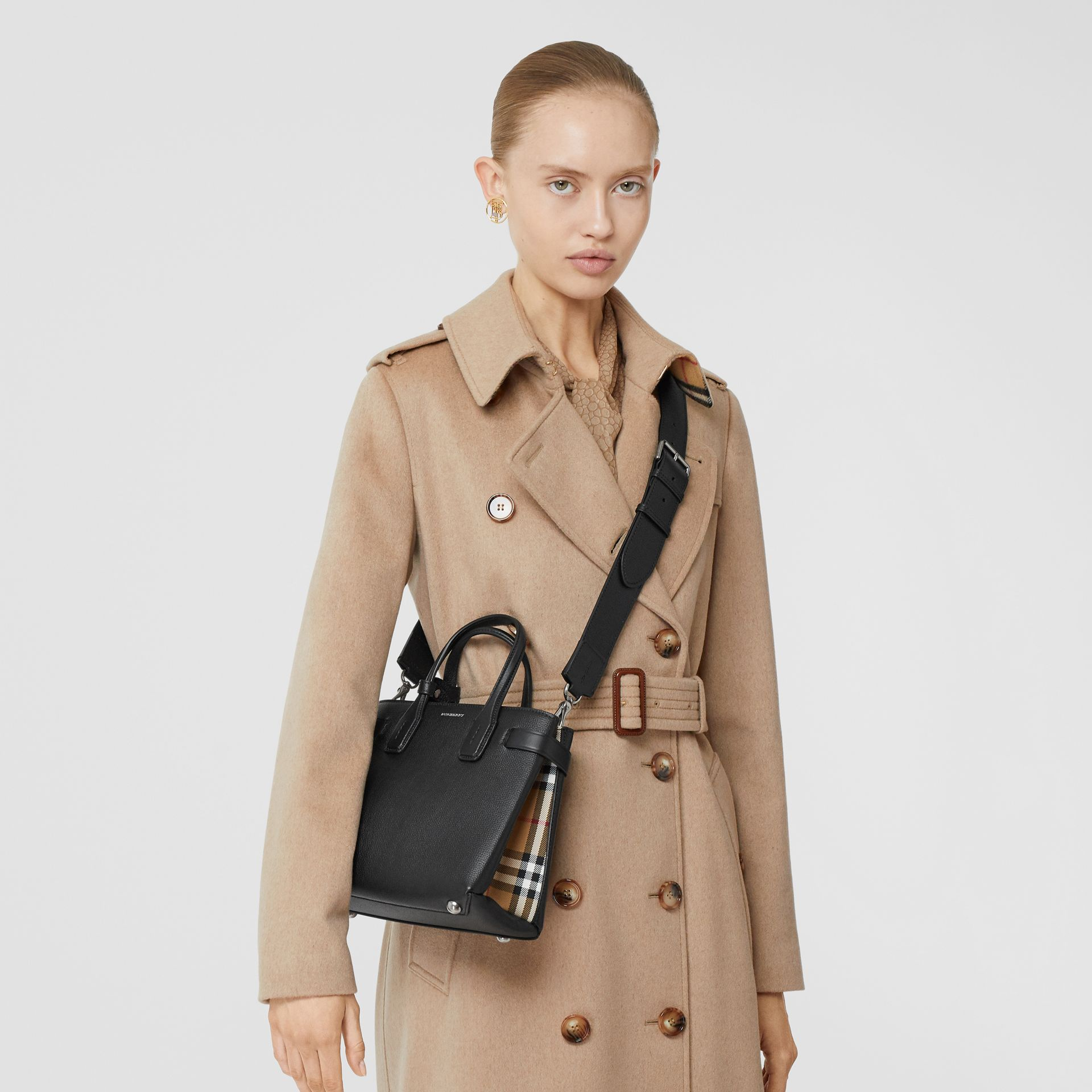 The Small Banner in Leather and Vintage Check in Black - Women | Burberry United States - gallery image 8