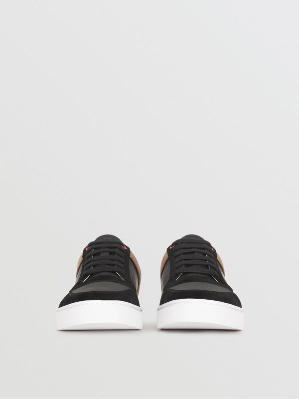 Leather and House Check Sneakers in Black - Men | Burberry - cell image 3