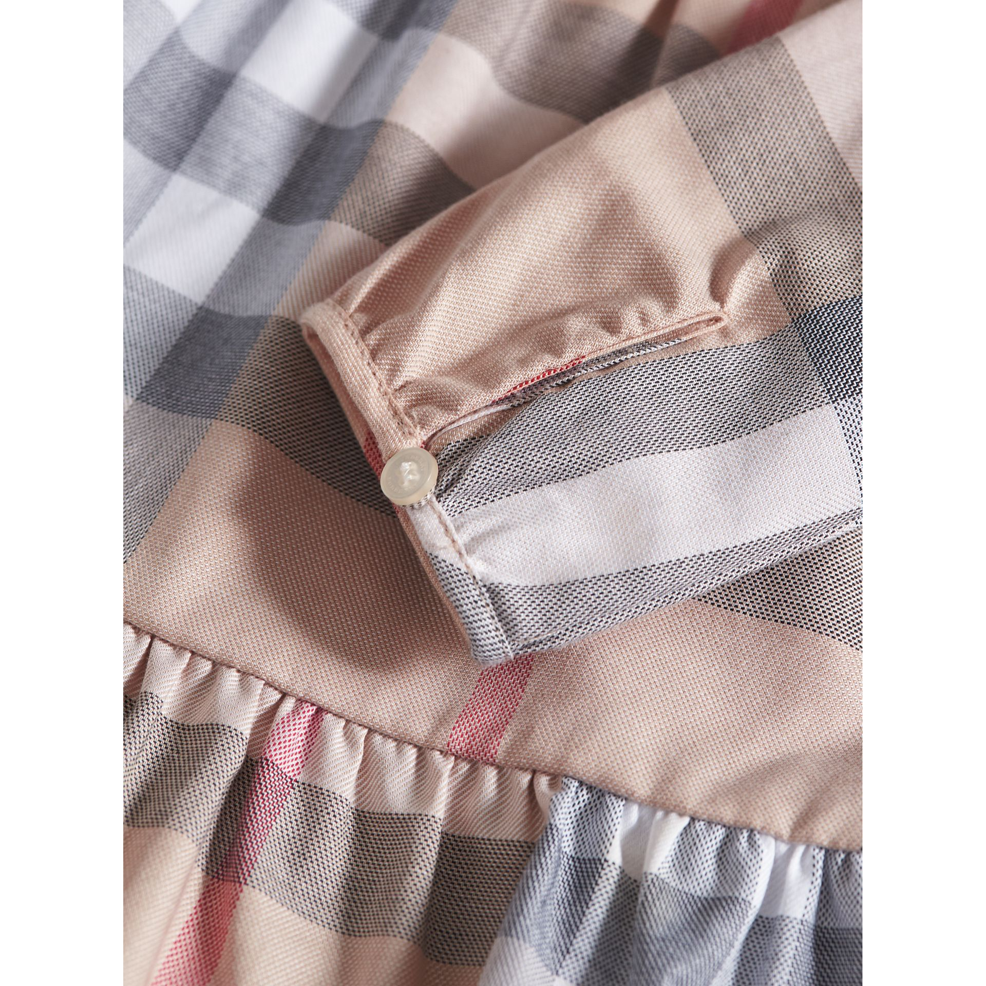 Check Cotton Tiered Dress with Bloomers in Pale Stone | Burberry - gallery image 1