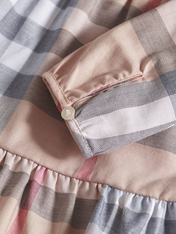Check Cotton Tiered Dress with Bloomers in Pale Stone | Burberry - cell image 1