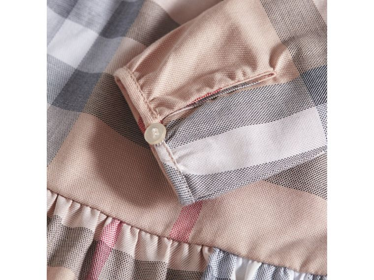 Check Cotton Tiered Dress with Bloomers in Pale Stone | Burberry United Kingdom - cell image 1