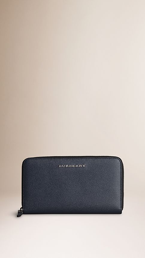 Navy London Leather Ziparound Wallet - Image 1