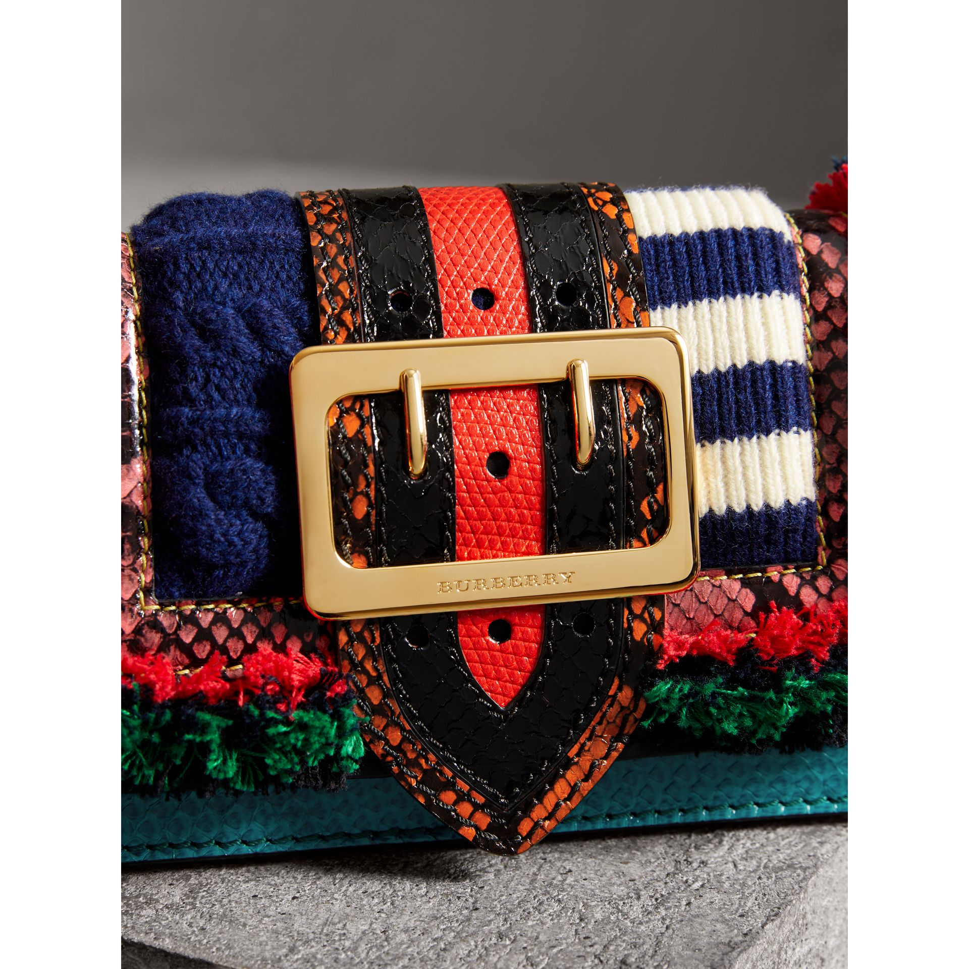 Sac The Patchwork en cuir exotique et maille de laine (Multicolore) - Femme | Burberry - photo de la galerie 1