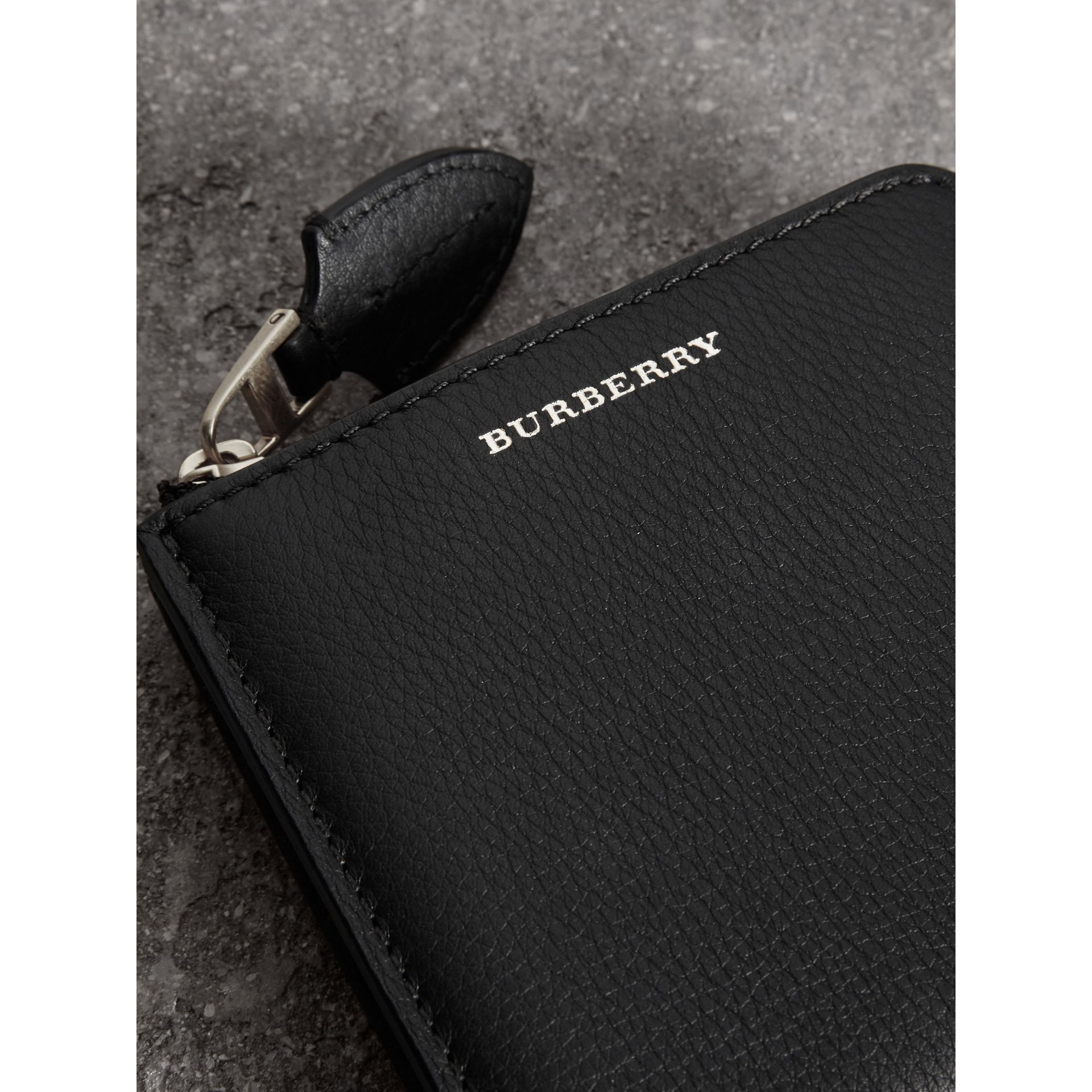 Grainy Leather Square Ziparound Wallet in Black - Women | Burberry - gallery image 1
