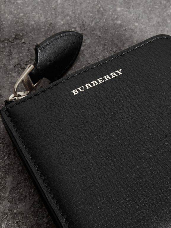 Grainy Leather Square Ziparound Wallet in Black - Women | Burberry Australia - cell image 1