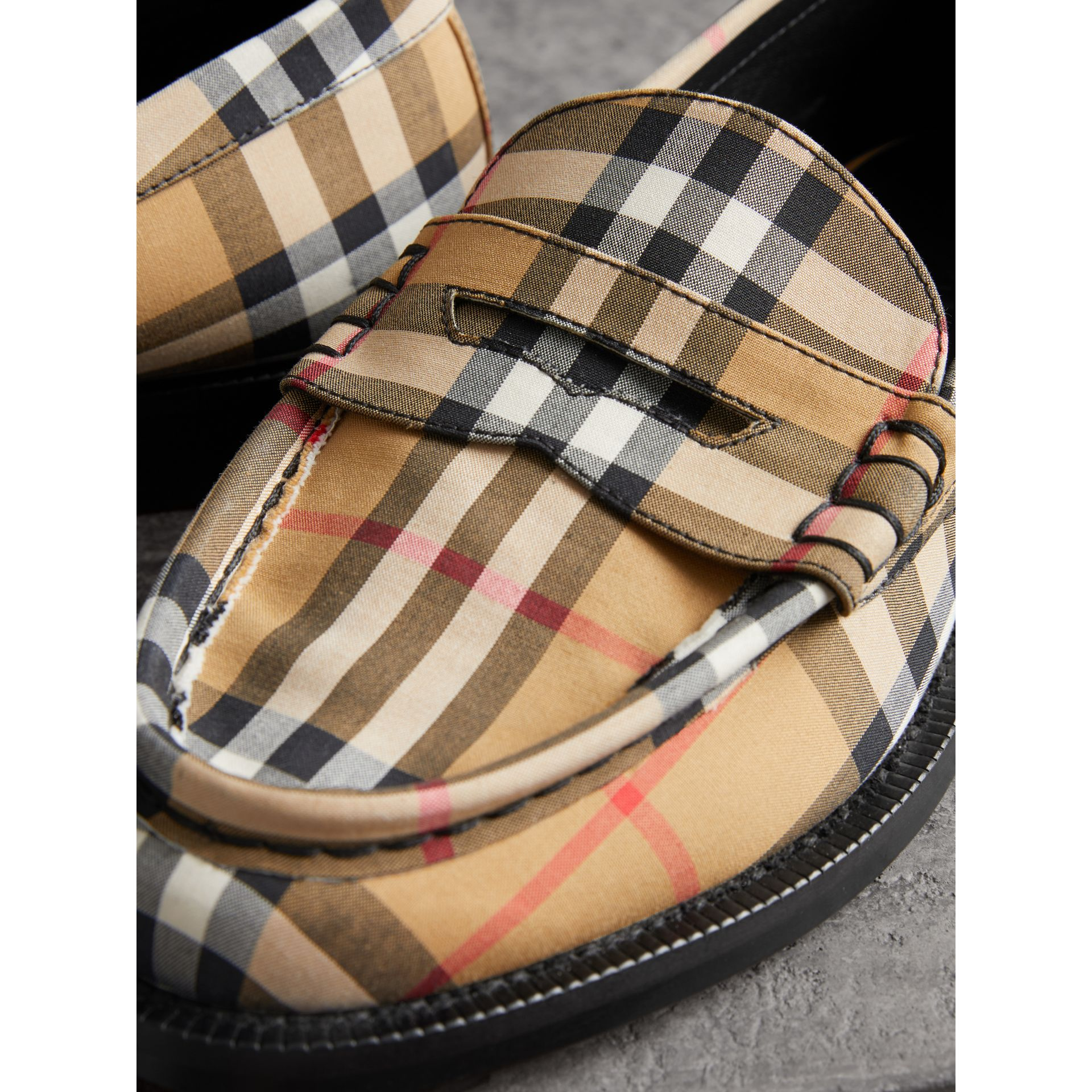 Vintage Check Cotton Penny Loafers in Antique Yellow - Women | Burberry - gallery image 1
