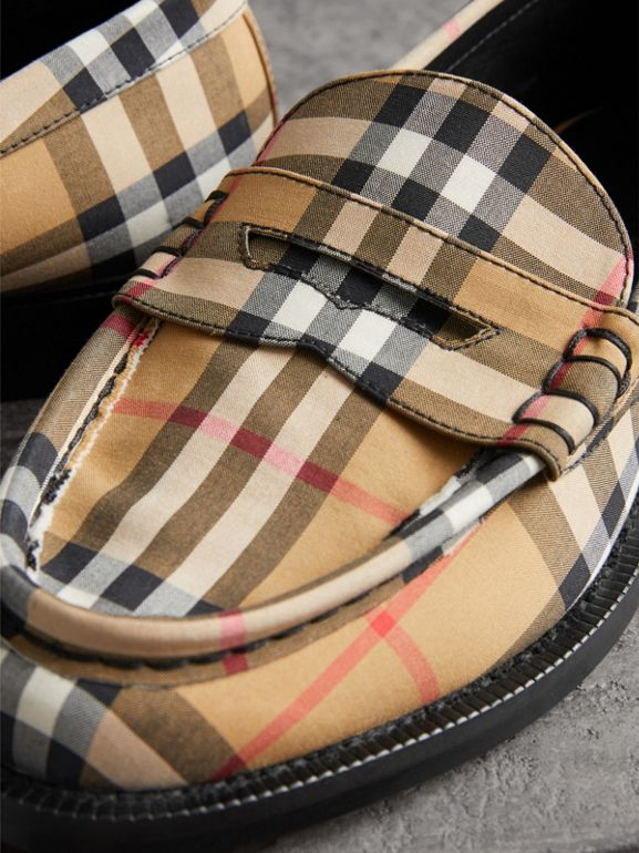 Vintage Check Cotton Penny Loafers in Antique Yellow - Women | Burberry Singapore - cell image 1
