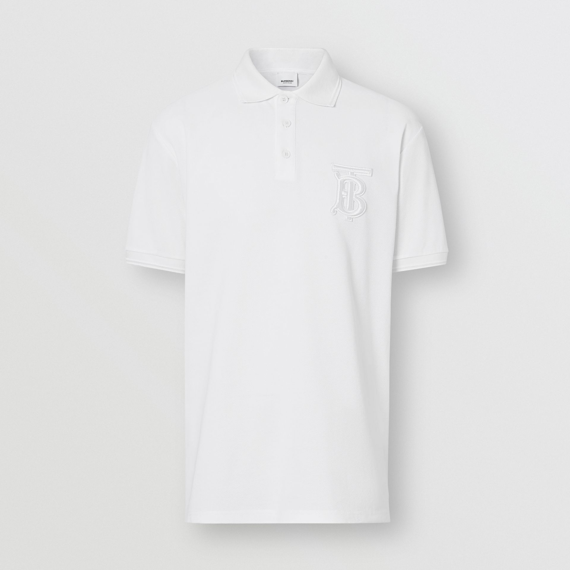 Monogram Motif Cotton Piqué Oversized Polo Shirt in White - Men | Burberry - gallery image 2