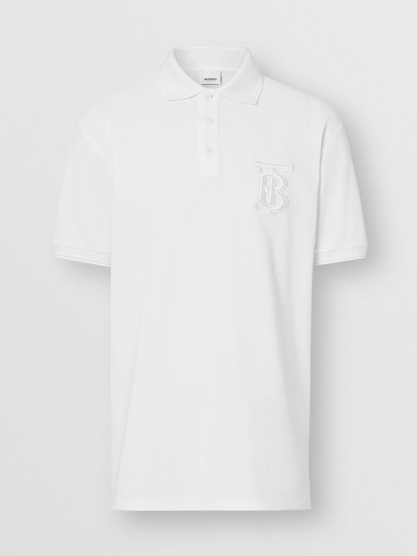 Monogram Motif Cotton Piqué Oversized Polo Shirt in White - Men | Burberry - cell image 2