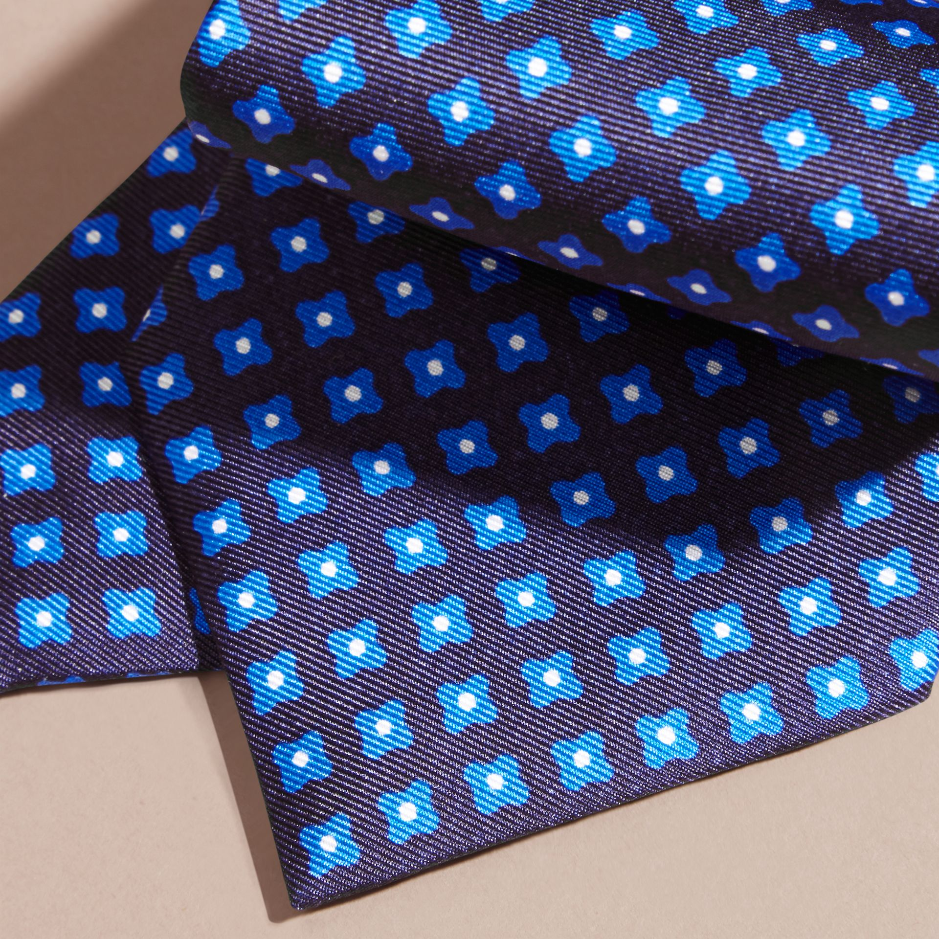 Bright hydrangea blue Modern Cut Printed Silk Tie Bright Hydrangea Blue - gallery image 2