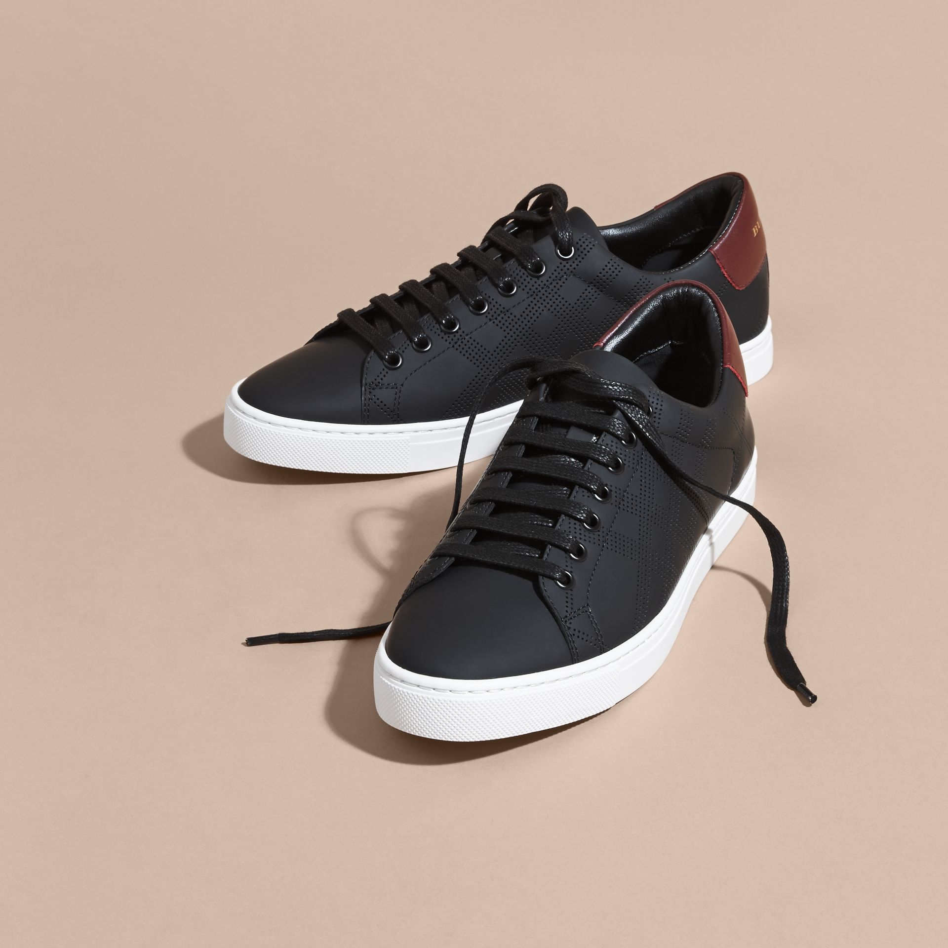 Perforated Check Leather Trainers in Black/deep Claret Melange - Men | Burberry - gallery image 2